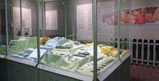 Vitriinissä esihistoria-ajan esineitä