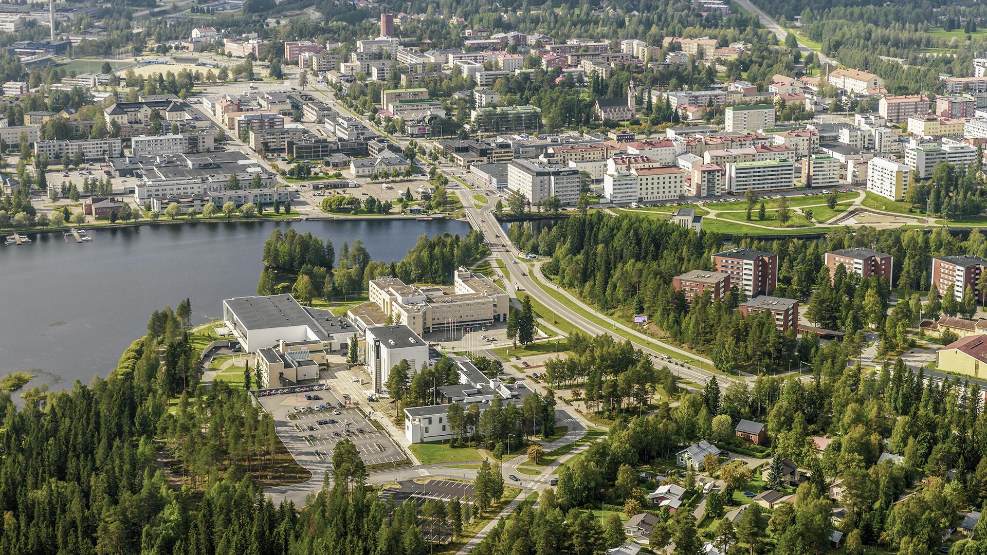Ilmakuva Kajaanin keskustasta