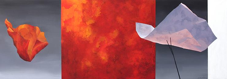Eeva-Maija Penttilän akryylimaalaus Leijuen (2006). Kajaanin taidemuseon kokoelma.