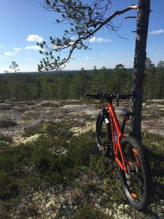 Maastopyörä Akkovaaran huipulla. Taustalla kesäinen maisema.