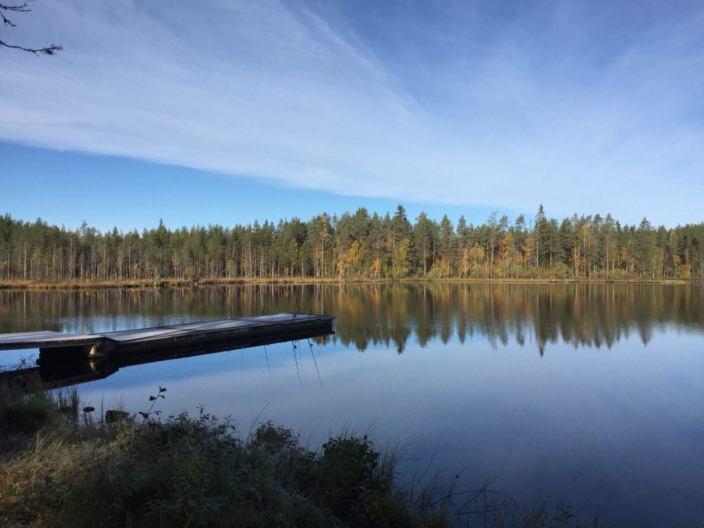 Ruuhijärven laituri kesäisessä säässä.