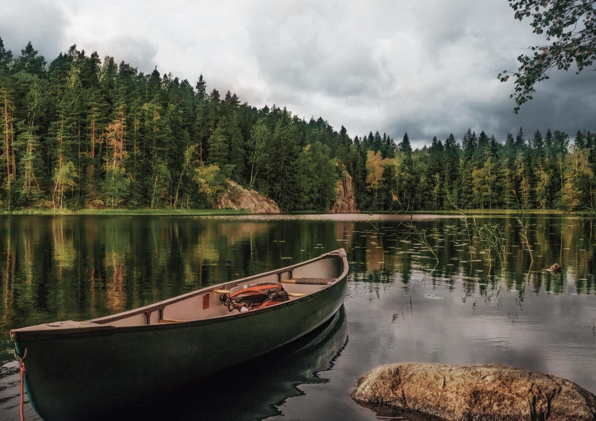 Vene ja metsäinen järvimaisema