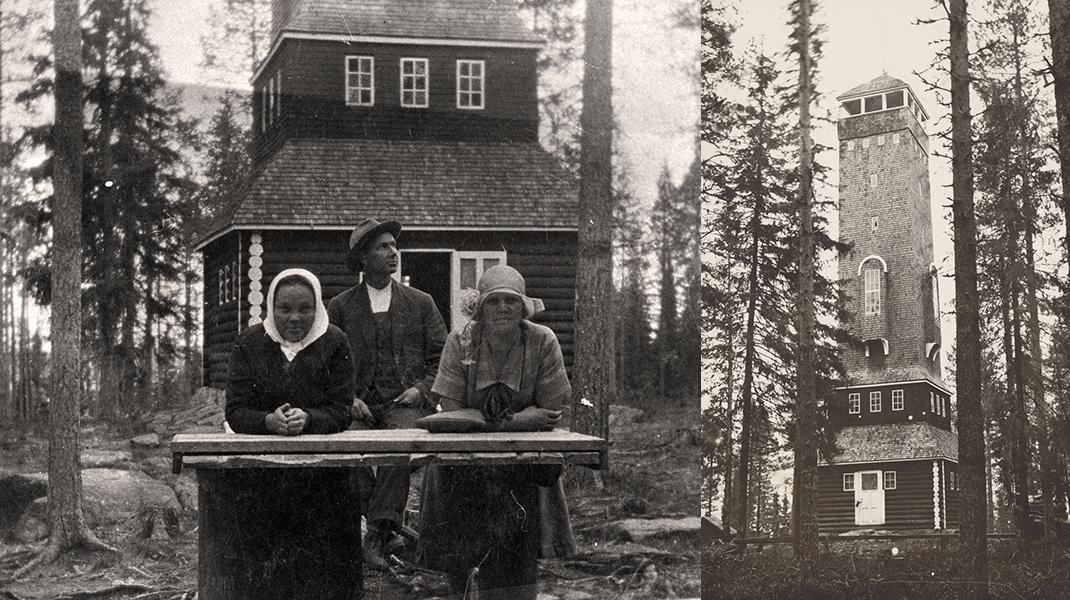 Vasemmalla kaksi naista ja mies näkötornin edessä, oikealla Pöllyvaaran näkötorni.