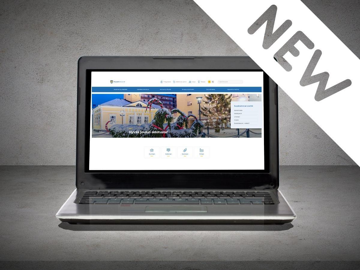 Tietokoneen ruudulla näkyy uuden verkkosivuston etusivu