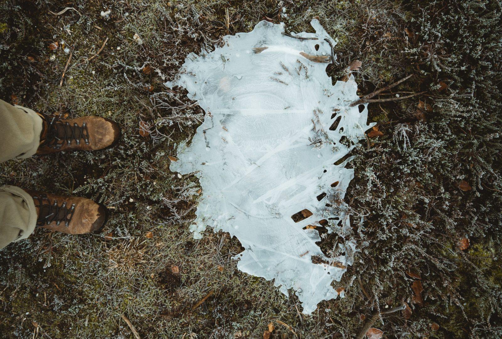 Kuvassa sammaleinen ja jäinen maa. Myös kuvaajan kengät näkyvät.