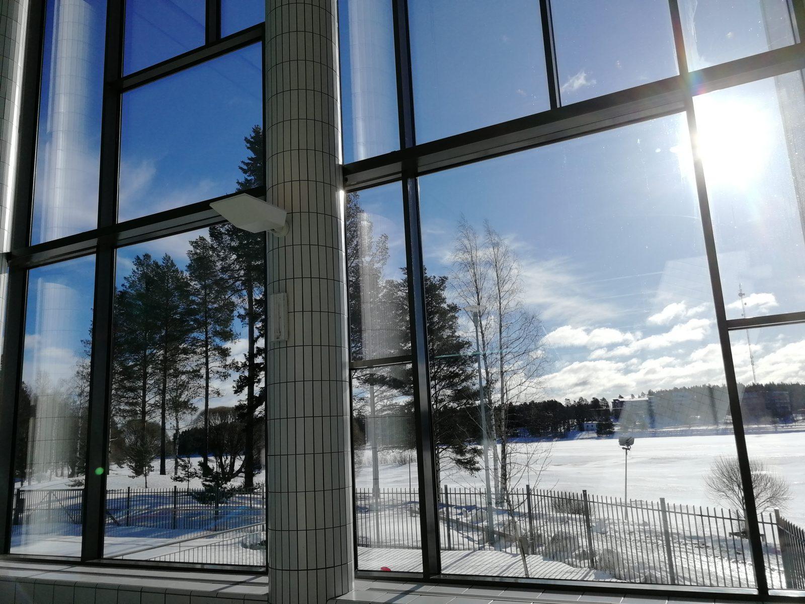 Talvinen maisema Kaukaveden ikkunasta