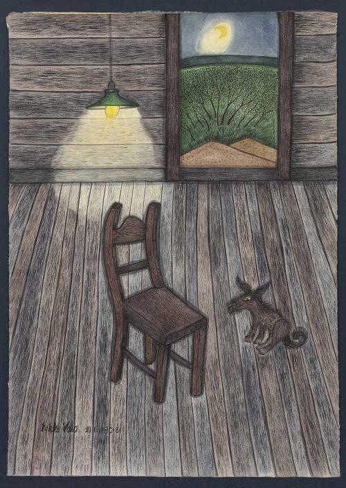 Pirkko Valon teos Odotamme aamuun, 1981, akvarelli paperille