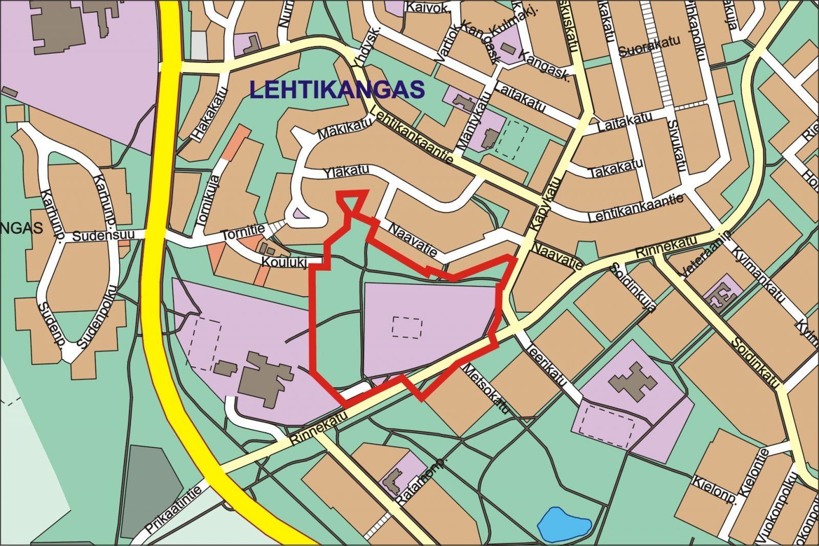 Kartta Lehtikankaan koulun asemakaava alueesta